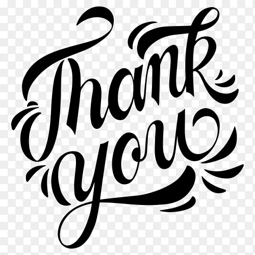 Hand lettering thank you with decorative graphic premium vector PNG