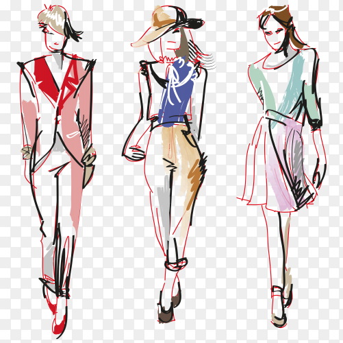 Hand painted fashion women premium vector PNG