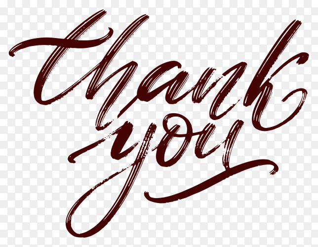 Hand written thank you isolated on transparent background PNG