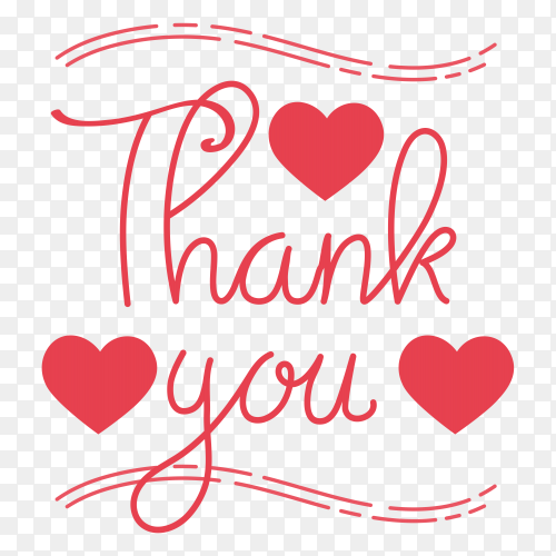 Hand written thank you on transparent background PNG