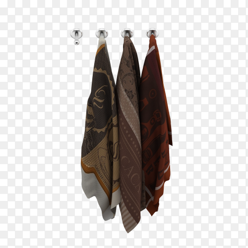 Hanging towels 3d isolated render on transparent background PNG