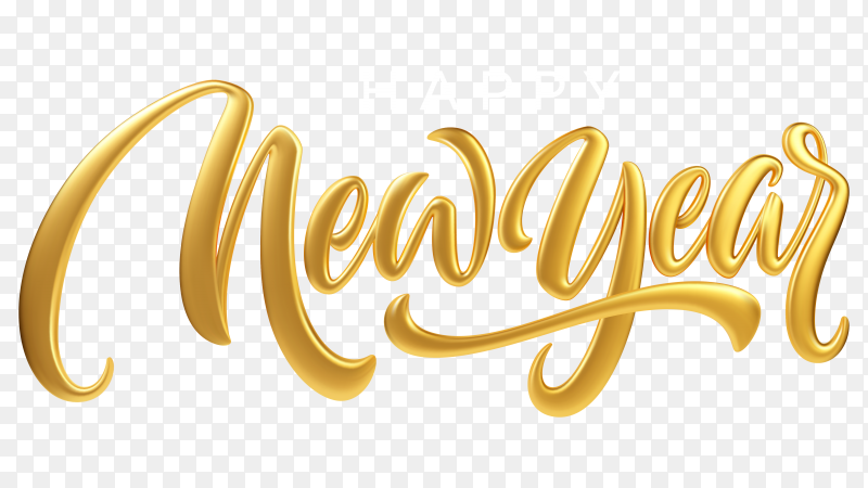 Happy new year. realistic golden metal lettering isolated on transparent background PNG