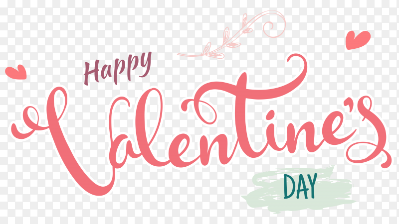 Happy valentines day lettering on transparent background PNG