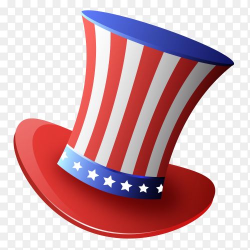 Hat magician cylinder American on transparent background PNG