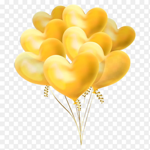 Heart balloons shaped in yellow colors on transparent background PNG