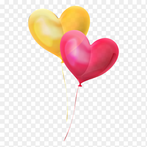 Heart balloons shaped on transparent background PNG