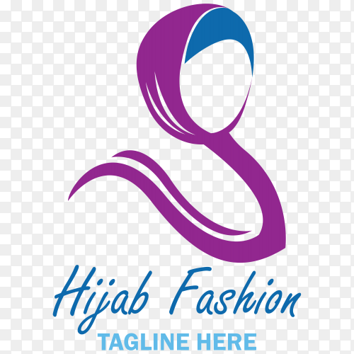 Hijab fashion logo isolated illustration premium vector PNG