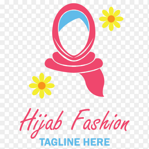 Hijab fashion logo template premium vector PNG