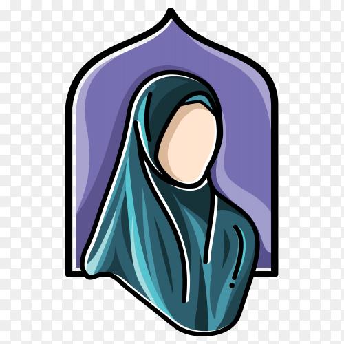 Hijab fashion Muslim illustration on transparent PNG