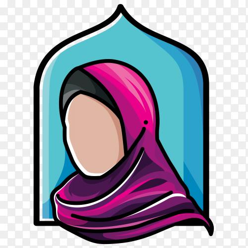 Hijab fashion Muslim on transparent background PNG