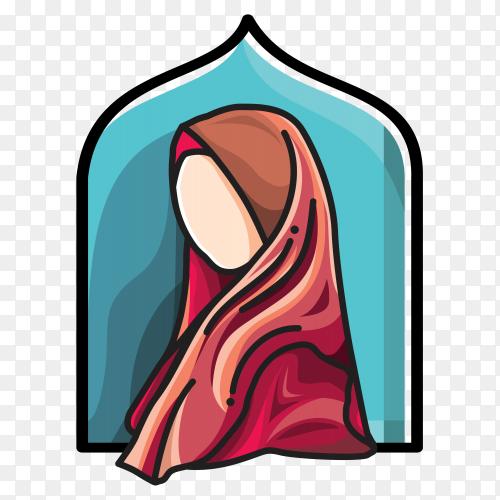 Hijab fashion Muslim woman on transparent background PNG