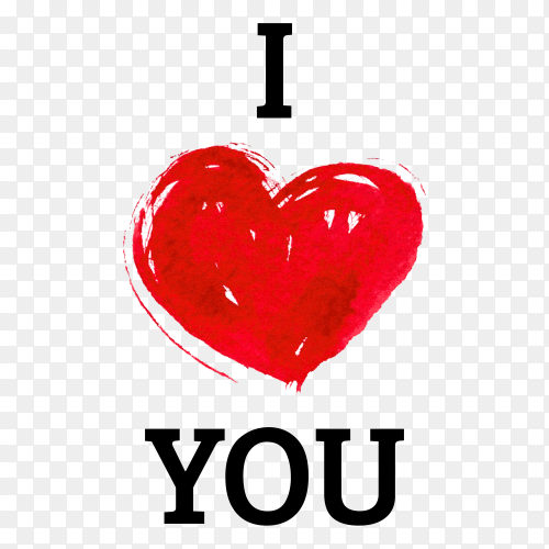 I love you with heart in watercolor style on transparent background PNG