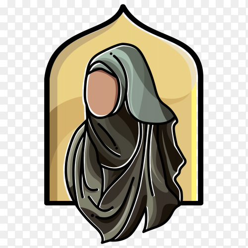 Illustrated Islamic woman covered with hijab premium vector PNG