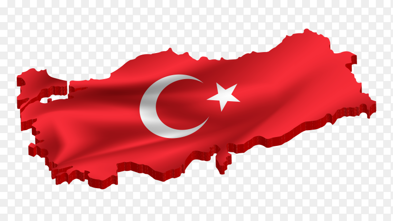 Illustration of Turkish flag on the map premium vector PNG
