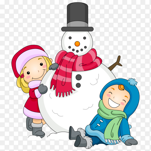 Illustration of a Boy and a Girl Posing Beside a Snowman on transparent background PNG