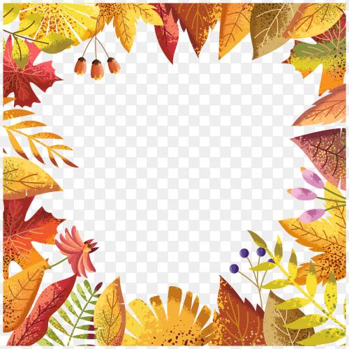 Illustration of autumn leaves on transparent background PNG