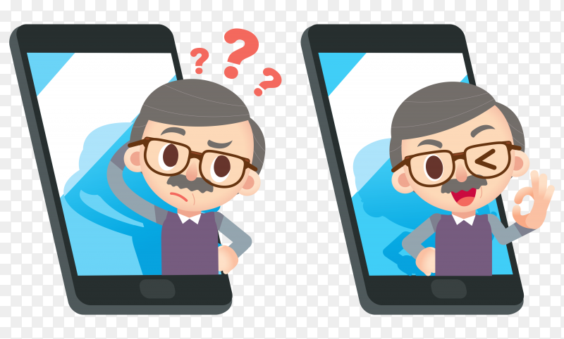 Illustration of elderly character with smartphone on transparent background PNG