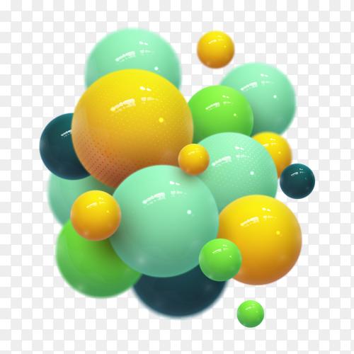 Illustration of glossy balls on transparent background PNG