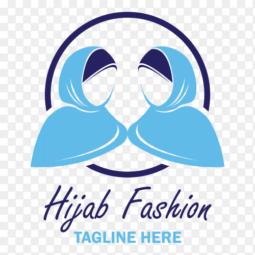 Illustration of hijab fashion logo design clipart PNG