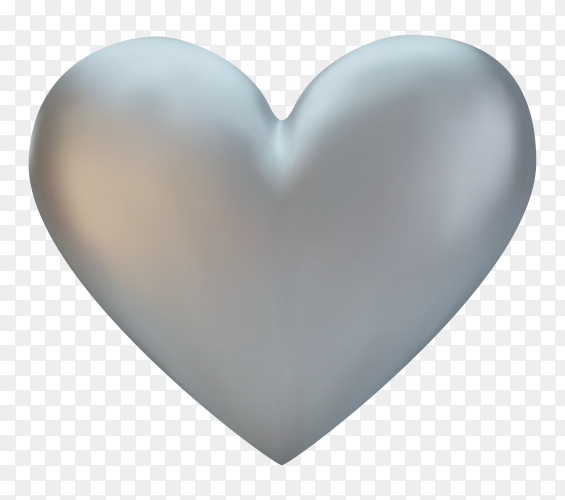 Illustration of silver heart premium vector PNG