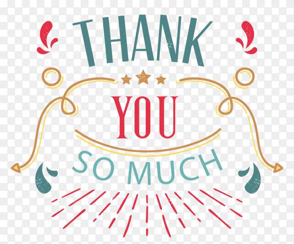 Illustration of thank you card design on transparent background PNG