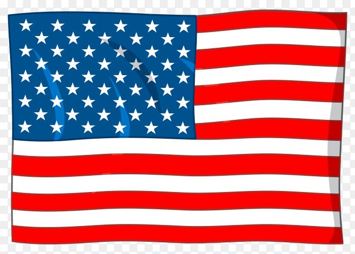 Illustration of usa flag on transparent background PNG