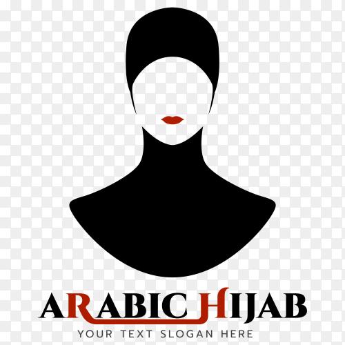 Illustration of Arabic hijab logo design on transparent PNG