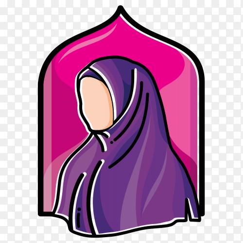 Illustration on Hijab fashion Muslim premium vector PNG