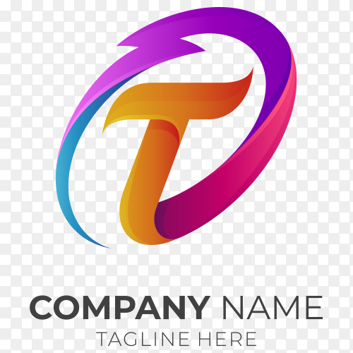 Initial letter t logo with thunder on transparent background PNG