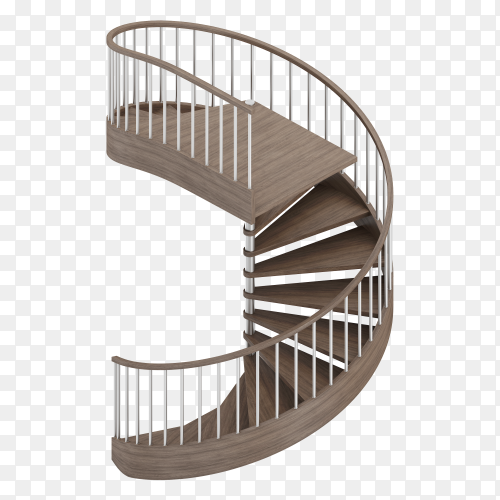 Isometric round stairs on transparent background PNG