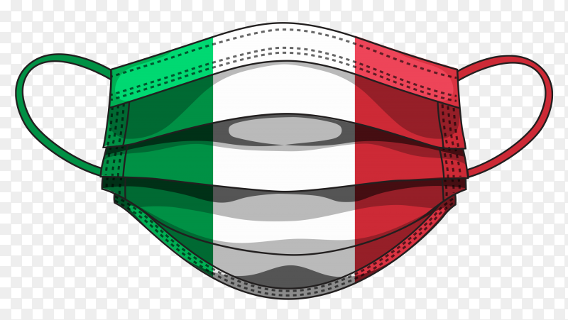 Italy flag in medical mask premium vector PNG