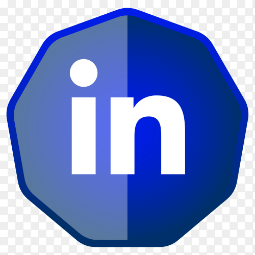 Linkedin Icon button on transparent PNG