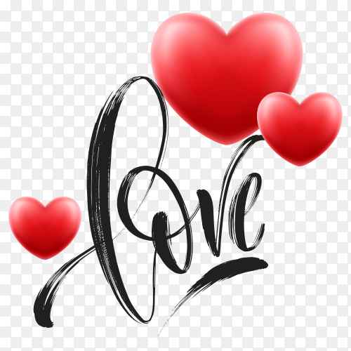 Love word hand drawn lettering with red heart on transparent background PNG