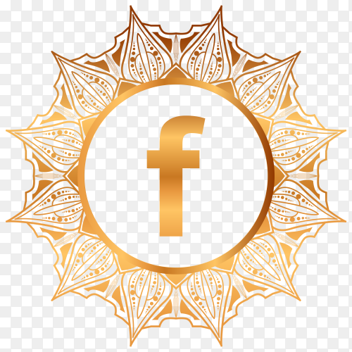 Luxury gold Facebook logo on transparent background PNG