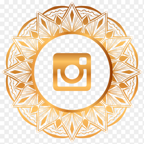 Luxury gold Instagram logo on transparent PNG