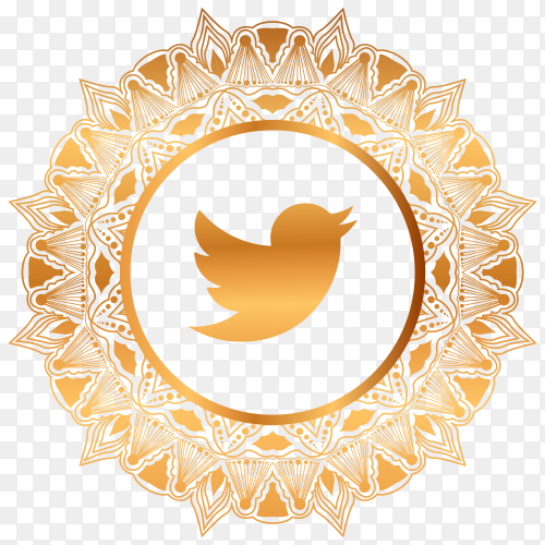 Luxury gold Twitter logo premium vector PNG