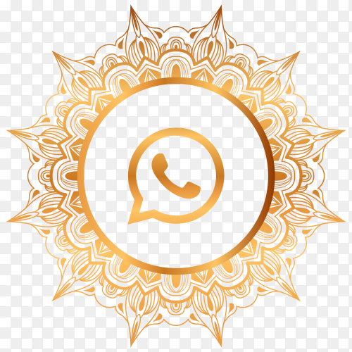 Luxury gold whatsapp logo premium vector PNG
