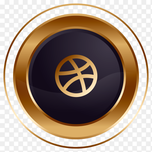 Luxury golden black Dirbble logo design on transparent background PNG
