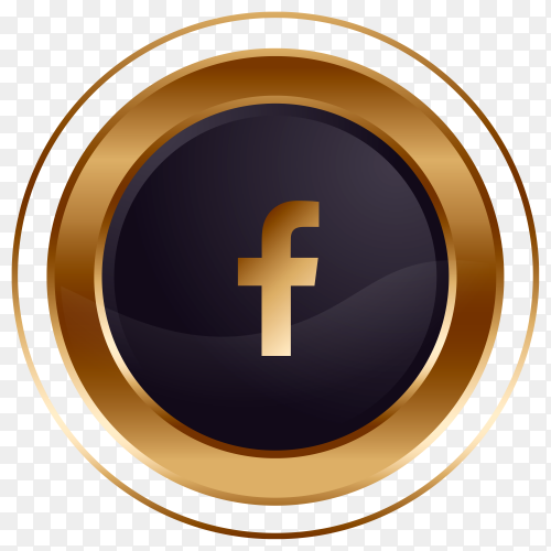 Luxury golden black Facebook logo design on transparent background PNG