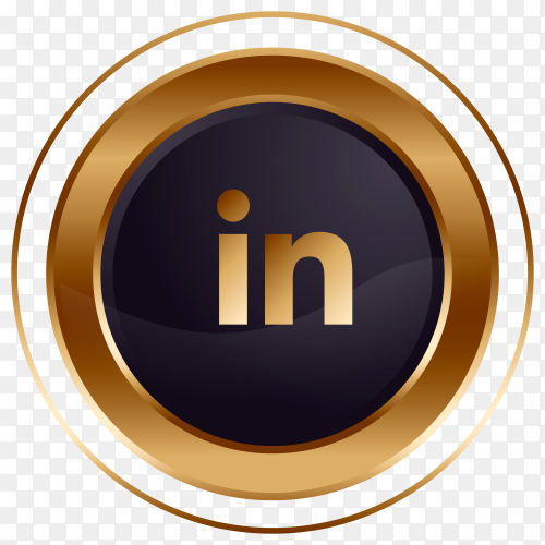 Luxury golden black Linkedin logo design premium vector PNG