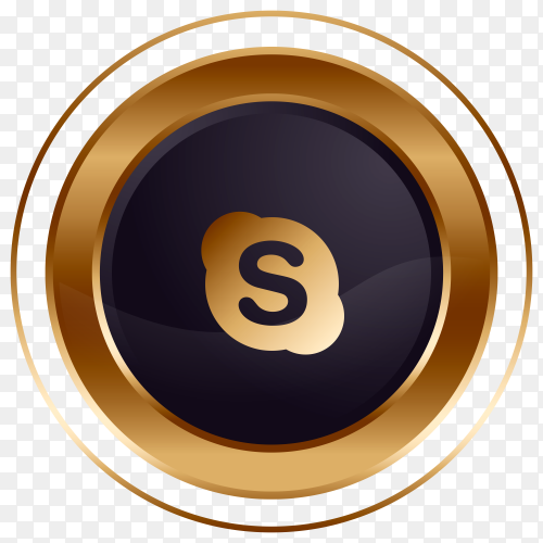 Luxury golden black Skype logo design on transparent PNG