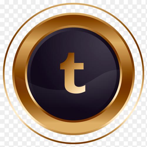 Luxury golden black Tumblr logo design premium vector PNG