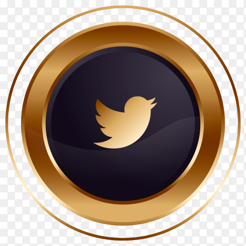 Luxury golden black Twitter logo design on transparent background PNG