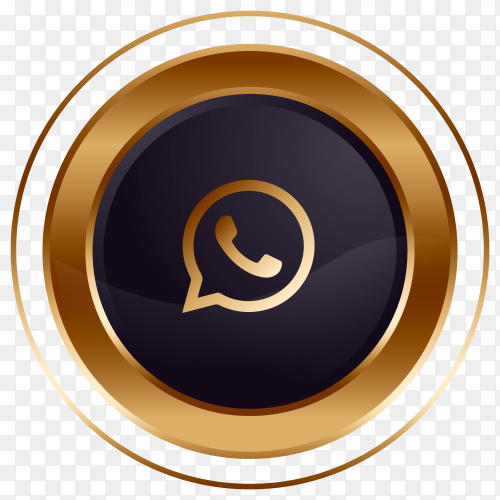 Luxury golden black Whatsapp logo design Clipart PNG