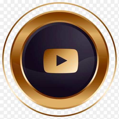 Luxury golden black Youtube logo design premium vector PNG