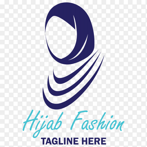 Luxury hijab style fashion logo template on transparent background PNG