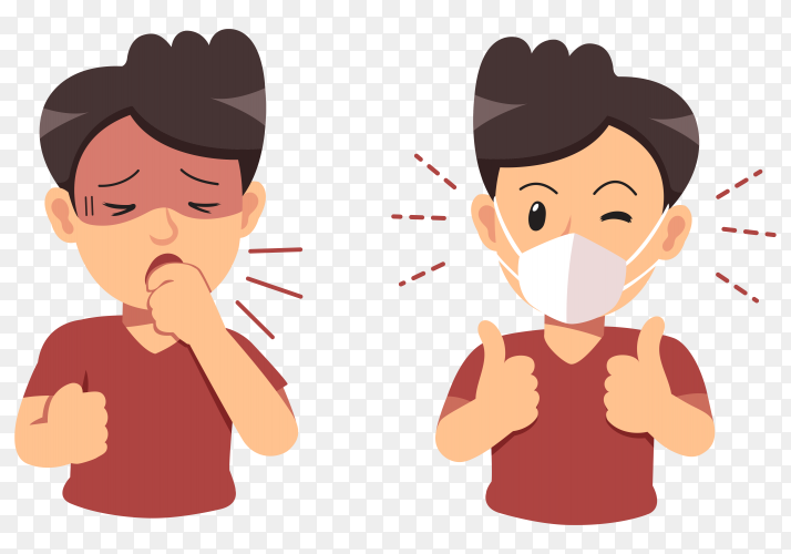 Man coughing and wearing protective face mask on transparent background PNG