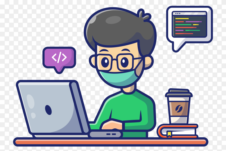 Man working on laptop icon illustration on transparent background PNG