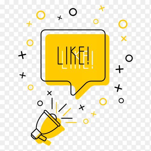 Megaphone and word 'like' in speech bubble on yellow on transparent background PNG