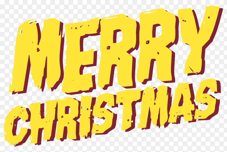 Merry Christmas Lettering with yellow color on transparent background PNG